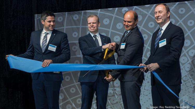 From left: Magnus Krogh Ankarstrand, senior vice president of Yara's North America business unit; Svein Tore Holsether, CEO and president of Yara; Martin Brudermüller, vice chairman of the board of executive directors and chief technology officer for BASF SE; and Wayne T. Smith, member of the board of executive directors for BASF SE and chairman and CEO of BASF Corp.