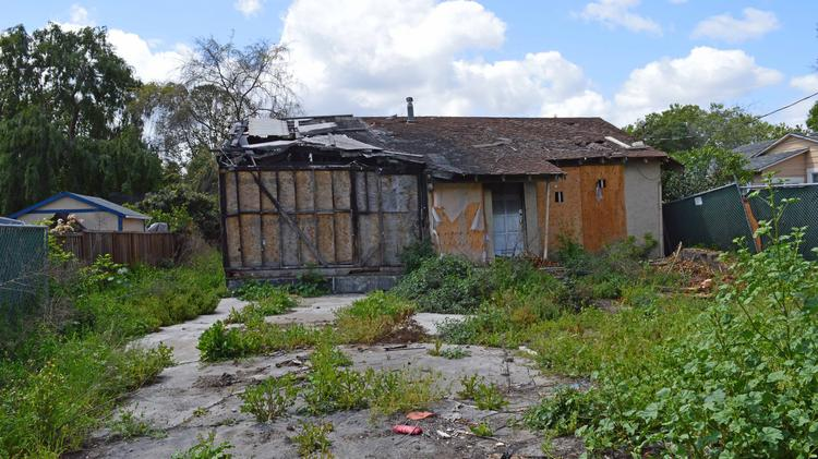 Burned-out house at 1375 Bird Ave  in San Jose's Willow Glen