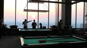 The 39th floor, called the Cloud Lounge, features 360-degree views of the Atlanta skyline. It has a movie theater, pool tables, a large bar and outdoor lounge with firepits.