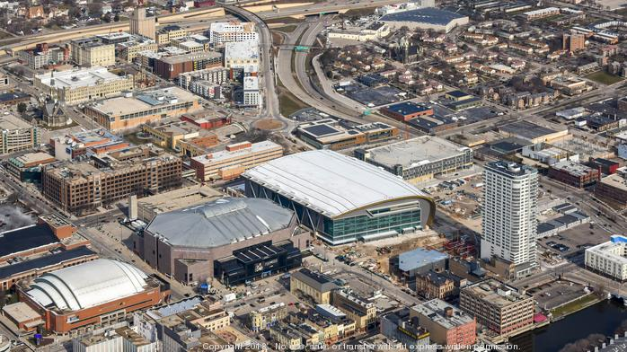 See Milwaukee's skyline with latest arena, entertainment block aerials: Slideshow