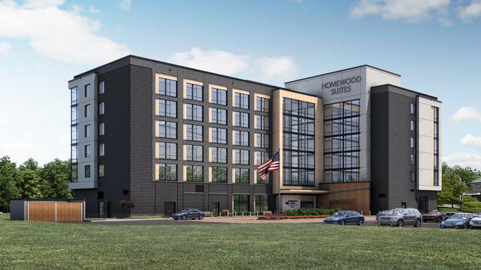 A rendering of the Homewood Suites Wilmington.