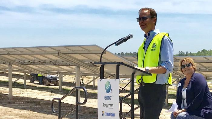 O2 EMC CEO Joel Olsen speaks at the early May showcase event for construction at the 20-acre Salisbury Solar site.