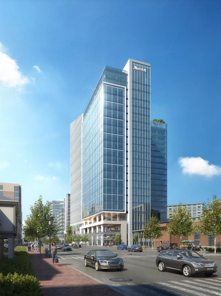 Marriott's 22-story headquarters building and neighboring 244-key Marriott hotel will soon rise from the ground.