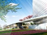 The base of MGM National Harbor's 21-story hotel tower is seen in this rendering. The proposed design is the work of HKS Architects. The builder will be Whiting-Turner.