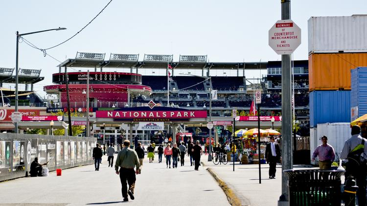 "Vendors often congregate along Half Street SE to sell to Washington Nationals game-goers. For MLB's All-Star Game, they'll have to get a special event permit to sell their gear. (Photo by <a>Tim Evanson.</a>. Used under <a href=""https://creativecommons.org/licenses/by/2.0/"">CC BY-SA 2.0</a> license.)"