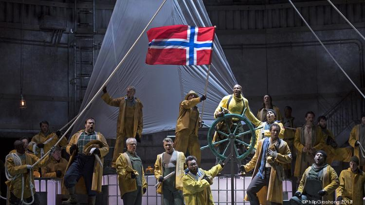 "Daland's crew, with the Steersman (Frederick Ballentine Jr.) at the wheel, in Cincinnati Opera's production of Wagner's ""The Flying Dutchman."""