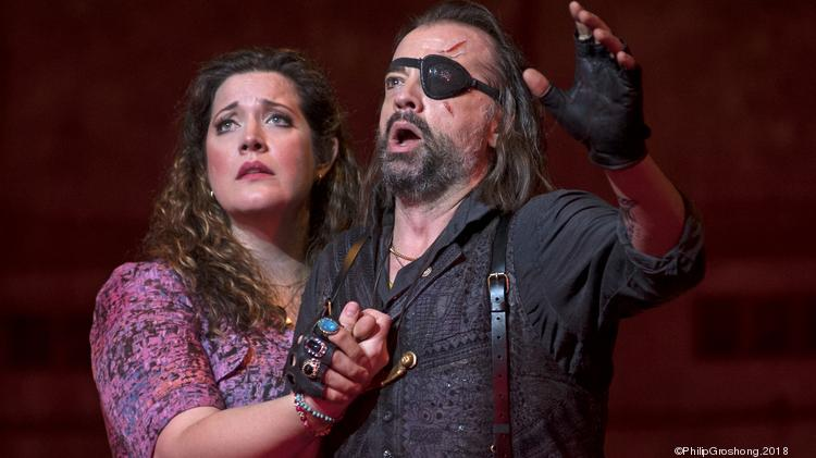 "Senta (Marcy Stonikas) and the Dutchman (Nathan Berg) in Cincinnati Opera's production of Wagner's ""The Flying Dutchman."""