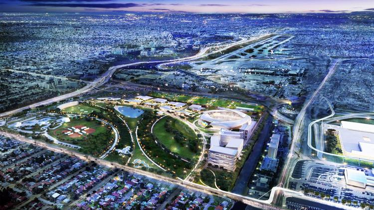 David Beckham and Jorge Mas want to build an MLS stadium surrounded by offices, retail, restaurants, and a hotel at Melreese park in Miami.