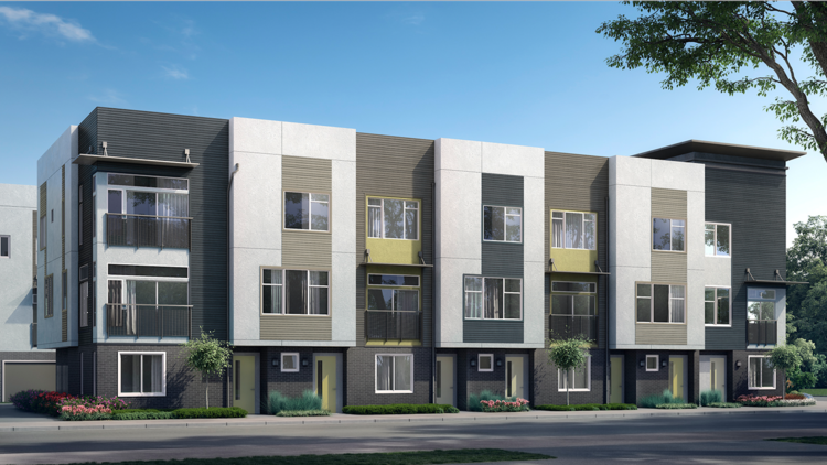 The SP78 at San Pedro Square townhomes will range from one to three bedrooms and 2.5 to 3.5 baths, each with direct access to the sidewalk and a garage.