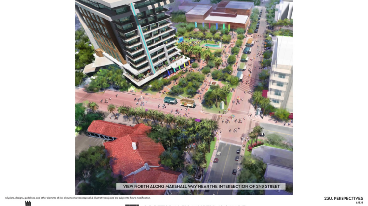 An artist's rendering shows the planned Museum Square development, which is proposed along Second Street and Marshall Way in Old Town Scottsdale.