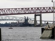 The USS 1st Lt. Harry Martin secured at the North Florida Shipyard after hitting the Mathews Bridge.