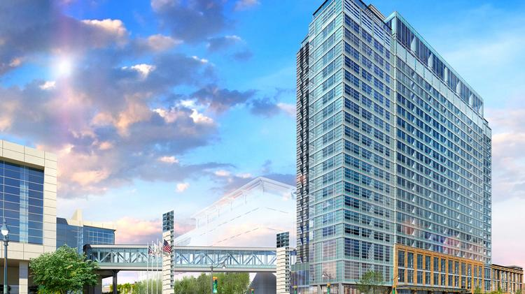 A Large Hilton Hotels Edifice Near Mccormick Place Features Three Hotel Brands Under One Roof