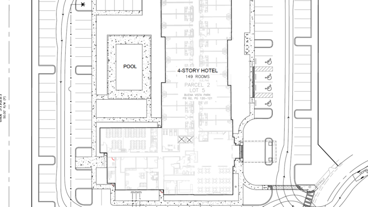 A Site Plan Of The Future 149 Room Lake Buena Vista Hotel