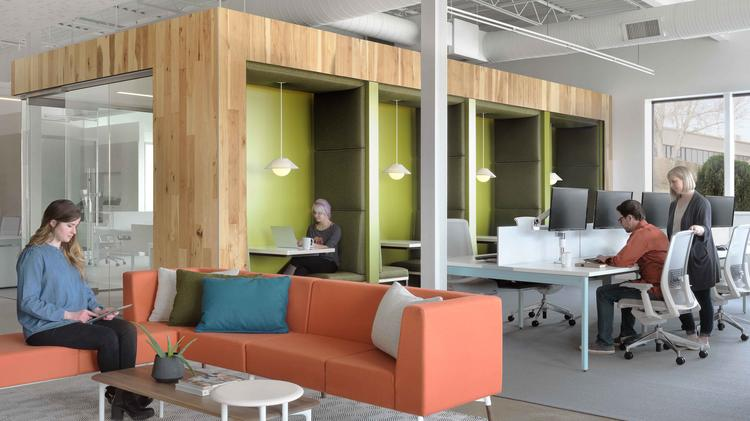 Collaborative office space Workplace Collaboration The Adarza Space Features Many Collaborative Areas In The Front Of The Office The Business Journals Coolest Office Spaces Adarza Incorporates Company Culture Into Its