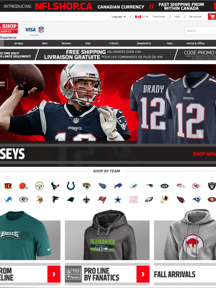 Fanatics, NFL launch Canadian-based e-commerce platform