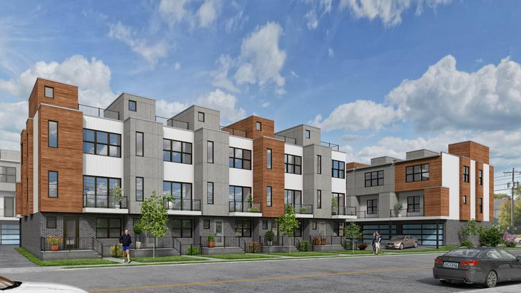 A rendering of the Allora on Madison from Taylor Avenue. Each townhome will have a two-car garage, three stories of living space, three private decks and the option to install an elevator.