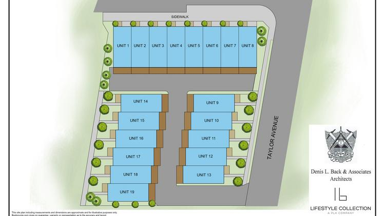 This site plan for Allora on Madison shows the three buildings and 19 units that will be part of the development.