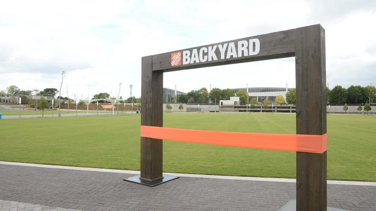 Backyard Depot westside kids 'cut' ribbon to open the home depot backyard - atlanta