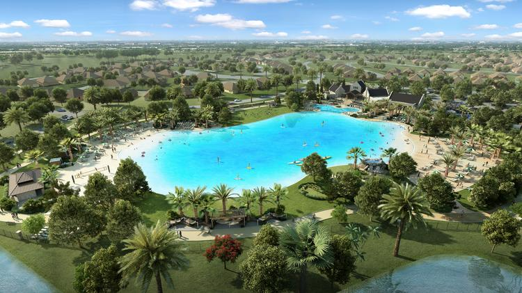 Lagoon under construction at Windsong Ranch in Prosper boosting