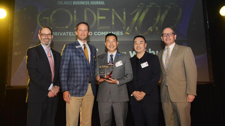 Bento Management Group co-owners Johnny and Jimmy Tung accepted the award as being among the Ultimate Newcomers in OBJ's 2018 Golden 100.