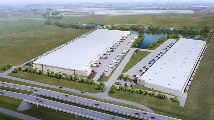 Dallas-based Trammell Crow Co. is developing a 519,224-square-foot facility (left) for Plastic Bagging & Packaging Inc. next to PBP's existing facility (right).