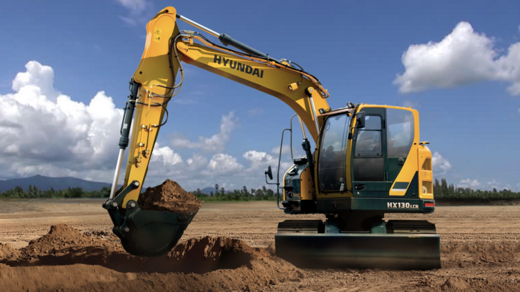 An Excavator Made By Hyundai Construction Equipment.