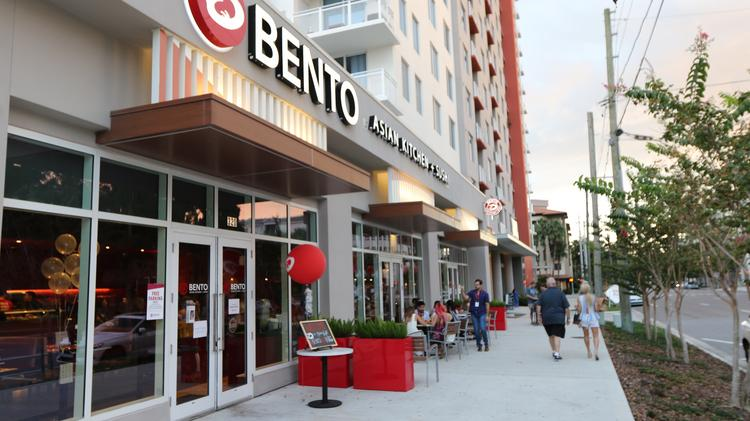 The St. Petersburg Bento Asian Kitchen + Sushi is located at 330 3rd St. S, in the base of the Camden Pier District apartment building.