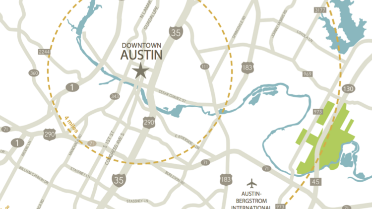 The site of Austin Green is highlighted on the right of this map.