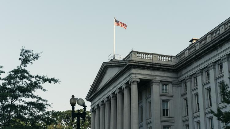 FILE-- The Treasury Department in Washington, D.C. The yield on benchmark 10-year Treasuries bore down on a record low on Monday, as the spread of coronavirus prompted another flight to the safety of government debt and some investors placed bets on a spring rate cut by the Federal Reserve.