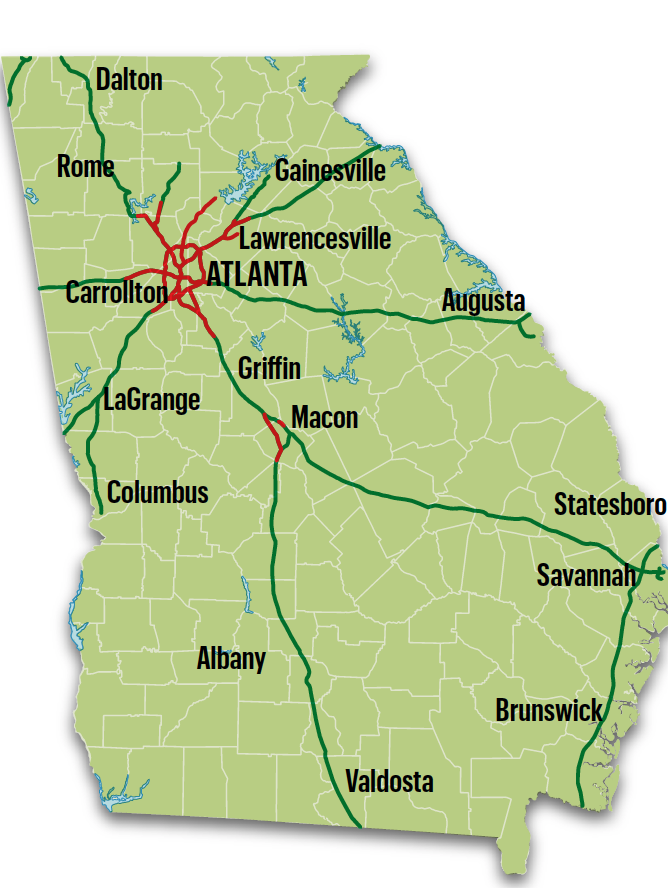 Map Of Georgia With Highways.Georgia Dot To Expand Broadband Along Interstate Highways