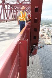 DOT engineer Will Watts said a major structural beam was damaged when a Navy ship hit the Mathews Bridge.