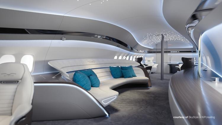 The Bbj Max Genesis Interiors Concept Draws Inspiration From Voluminous Clouds Hanging Over A White Sand