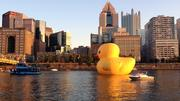 The duck in front of the Pittsburgh skyline.