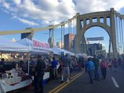 About 70 vendors sold food and goods at the bridge party, which was organized as Night Market VI by the Pittsburgh Downtown Partnership.