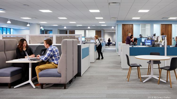 Collaborative spaces are integrated throughout Sleep Number's new office space.