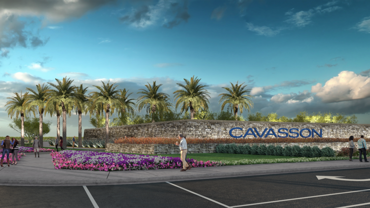 An artist's rendering shows the entryway for Cavasson, the planned Nationwide headquarters and mixed-use development in Scottsdale. It will be built on a parcel the company bought from the Arizona State Land Department.
