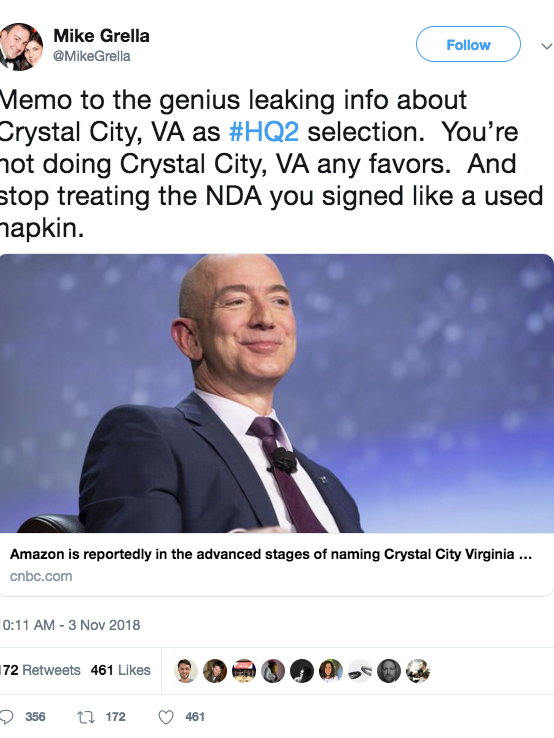 Mike Grella posted this on Twitter after the Washington Post reported Amazon is deep in talks with Crystal City about HQ2.