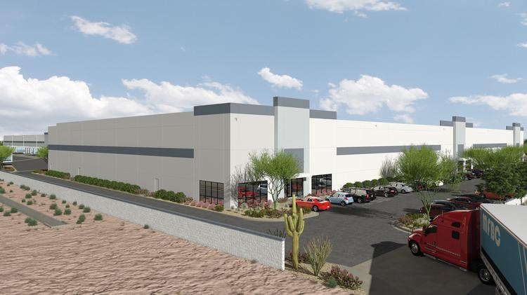 An artist's rendering shows an industrial complex under construction by Majestic Realty Co. in Tolleson.