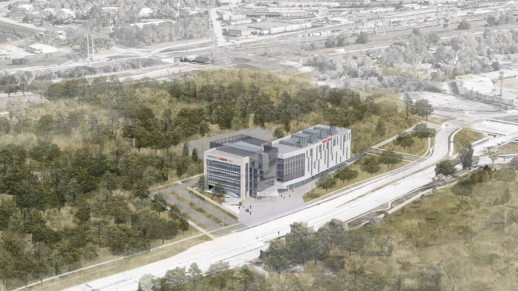 A depiction of what the University of Houston's new College of Medicine building could look like at the MacGregor site.