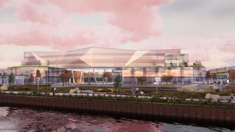 A Rendering Shows View Of Komatsu Mining S Headquarters From The Water
