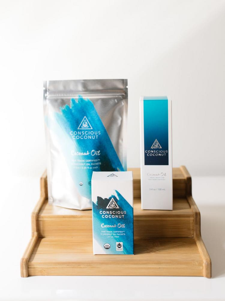 Conscious Coconut products include a toothpaste size tube for traveling and individual, single-use pouches.