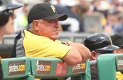 Pittsburgh Pirates manager Clint Hurdle watches Jeanmar Gomez pitch during the Pirates-Marlins game Aug. 8.  at PNC Park.