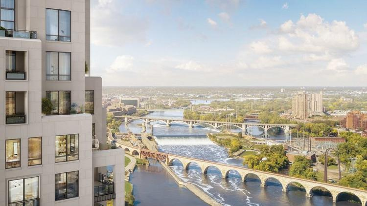 The Eleven condominium tower overlooks the Mississippi River, St. Anthony Falls and the Stone Arch Bridge. The top floors would have just one unit per floor, and the top unit would take two whole floors.