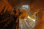 A view inside the Big Pipe during construction.