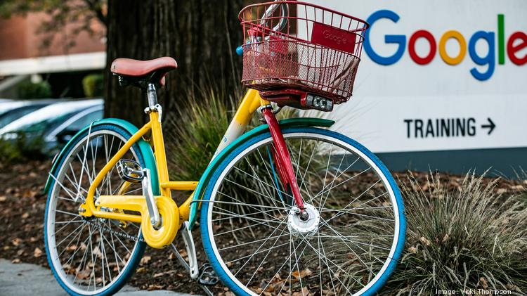 A Google bike outside a building in the company's Mountain View headquarters.
