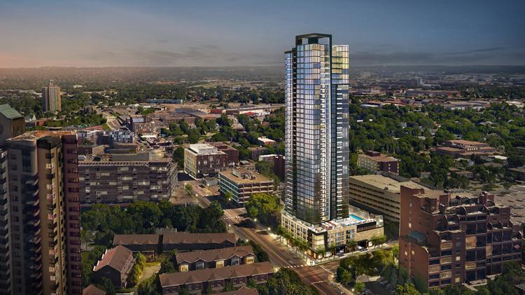 Alatus's Alia tower would stand 40 stories on the other side of the river, but the developer is looking for new financing.