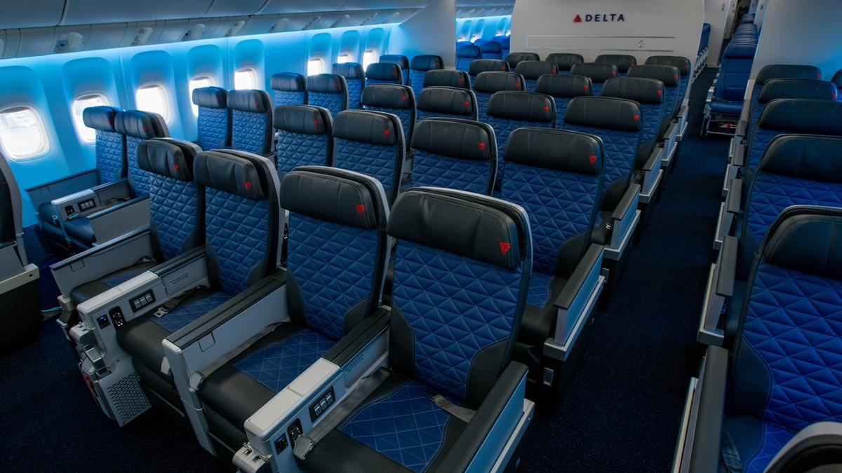 Delta air lines unveils first aircraft with four seat for What is the difference between delta comfort and main cabin