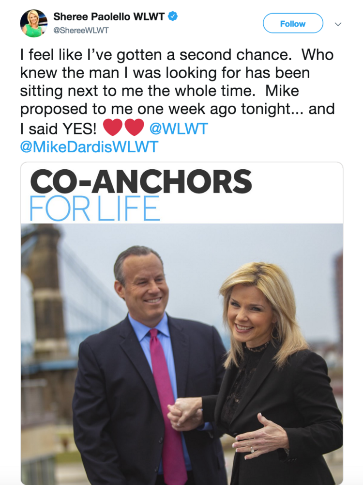 WLWT anchors Sheree Paolello, Mike Dardis to marry