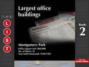 2: Montgomery Park  The full list of the largest office buildings - including contact information - is available to PBJ subscribers.  Not a subscriber? Sign up for a free 4-week trial subscription to view this list and more today