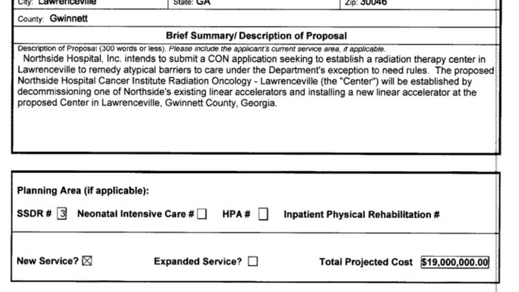 Northside Hospital plans $19M radiation center in Gwinnett
